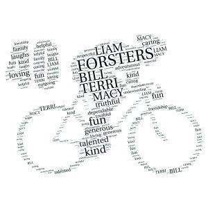 Bike 40th word art print