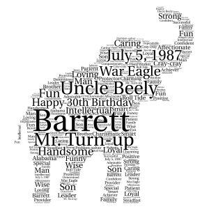 Elephant word art print