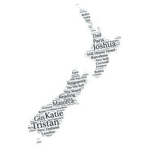 New Zealand word art print