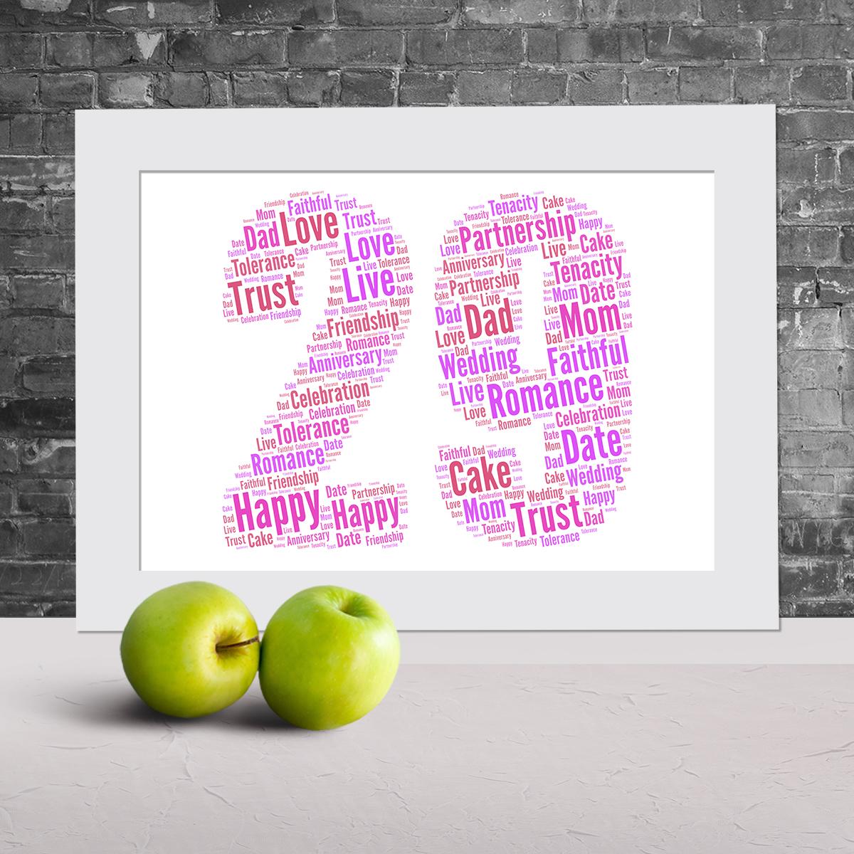 29th anniversary word art | word art prints - word art app
