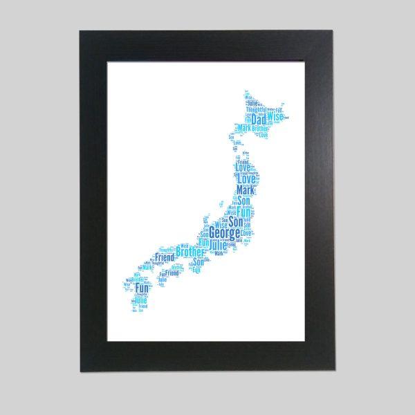 Map of Japan of Word Art Prints