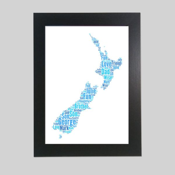 Map of New Zealand of Word Art Prints