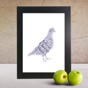 Personalised Pigeon word art print