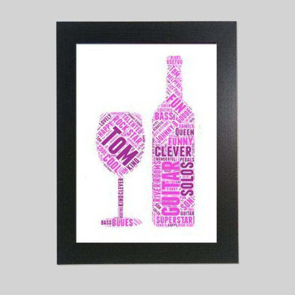 Wine And Wine Glasses of Word Art Prints
