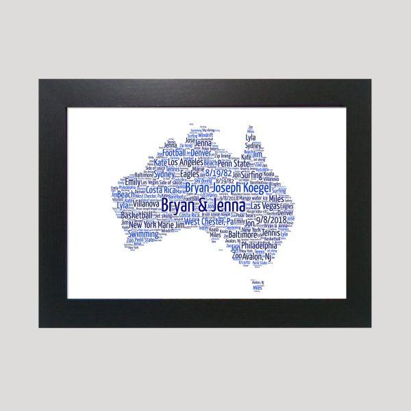 Map of Australia of Word Art Prints