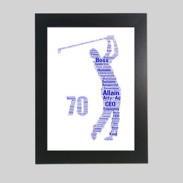 Golfer 70th of Word Art Prints