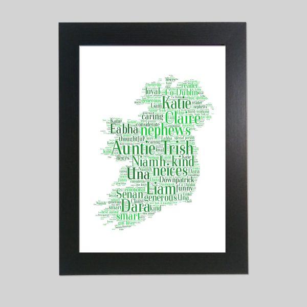Map of Ireland of Word Art Prints