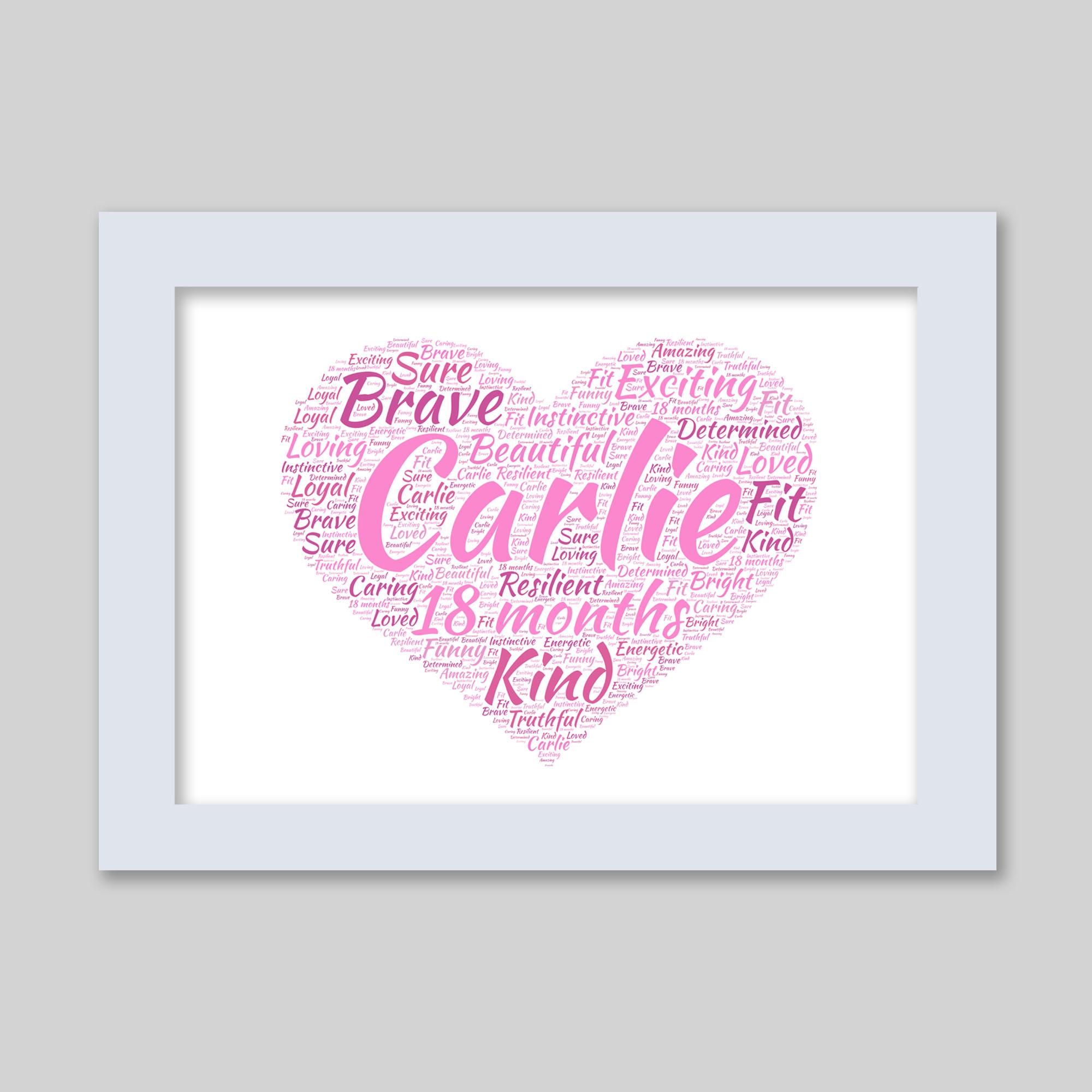 Personalised Love Heart Art Word Art Prints Word Art App
