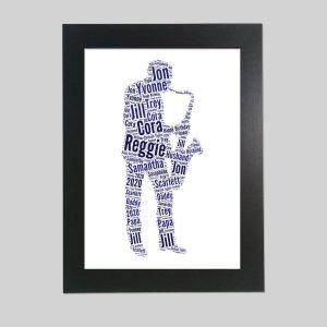 Man Playing Saxophone of Word Art Prints