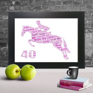 Horse Jumping and a Man Riding on the back and number 40 of Word Art Prints
