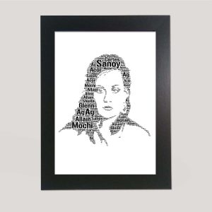 Full Face Drawing Of Adel of Word Art Prints