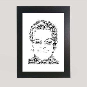 Full Face Drawing Of Elton John of Word Art Prints