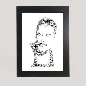 Full Face Drawing Of Freddie Mercury of Word Art Prints