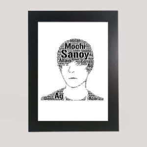 Full Face Drawing Of Justin Bieber of Word Art Prints