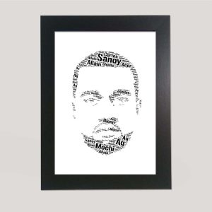 Full Face Drawing of Kanye West of Word Art Prints