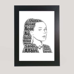 Full Face Drawing Of Katy Perry of Word Art Prints