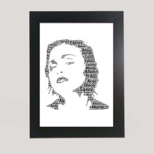 Full Face Drawing of Madonna of Word Art Prints