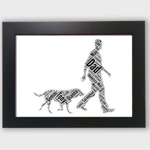 Dog Following a Man of Word Art Prints
