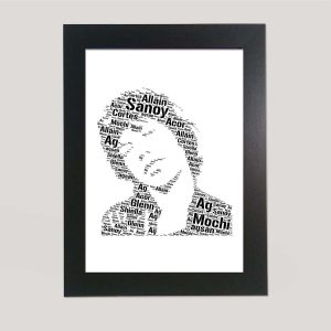 Full Face Drawing of Mick Jagger of Word Art Prints