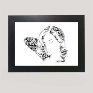 Full Face Drawing of Rihanna of Word Art Prints