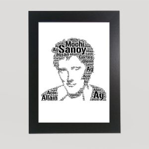 Full Face Drawing of Rod Stewart of Word Art Prints
