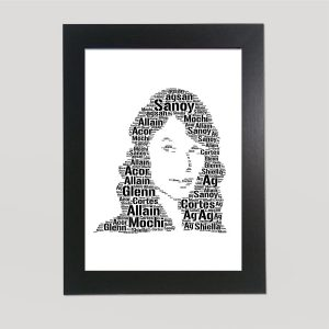 Full Face Drawing of Taylor Swift of Word Art Prints