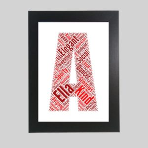 letter A of word art prints