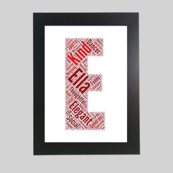 letter E of word art prints