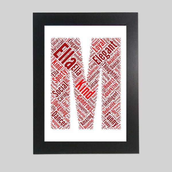 letter M of word art prints