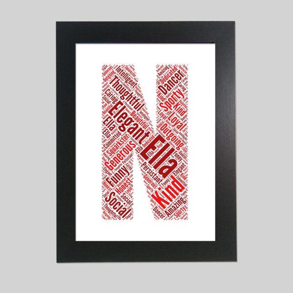 letter N of word art prints