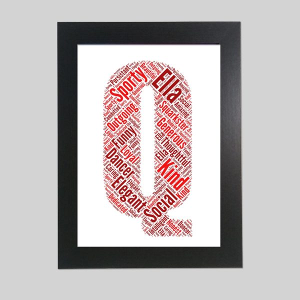 letter Q of word art prints