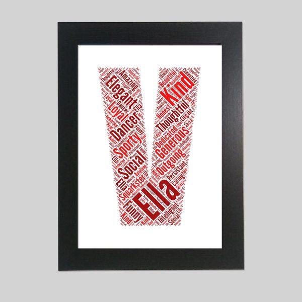 letter V of word art prints