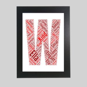 letter W of word art prints