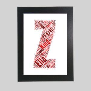 letter Z of word art prints