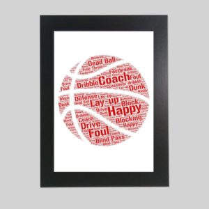 basket ball of word art prints