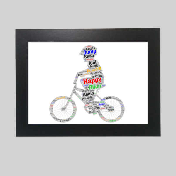 kid in a bicycle of word art print