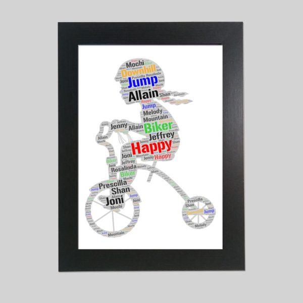 kid in a bicycle of word art prints