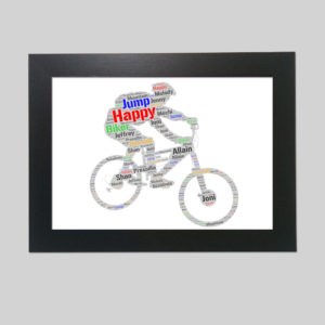 man in a bicycle of word art prints