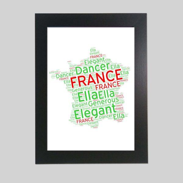 France Map of wordart prints