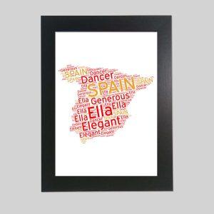 Spain Map of Word Art Prints