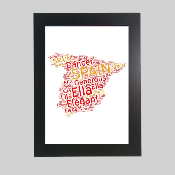 Spain Map of Word Art Prints