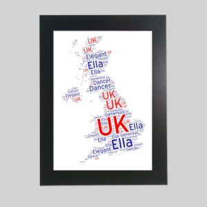 United Kingdom Map of wordart prints