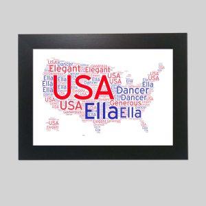 USA Map of Word Art Prints