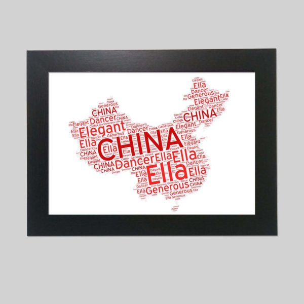 china map of wordart prints