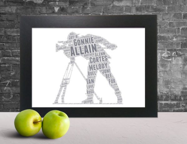 Man Taking Picture in a Frame Wordart Prints