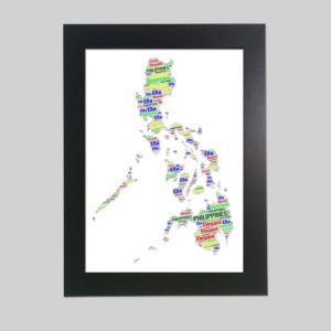 Philippines map of wordart prints