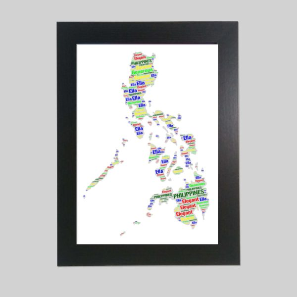 Philippines map of wordart prints
