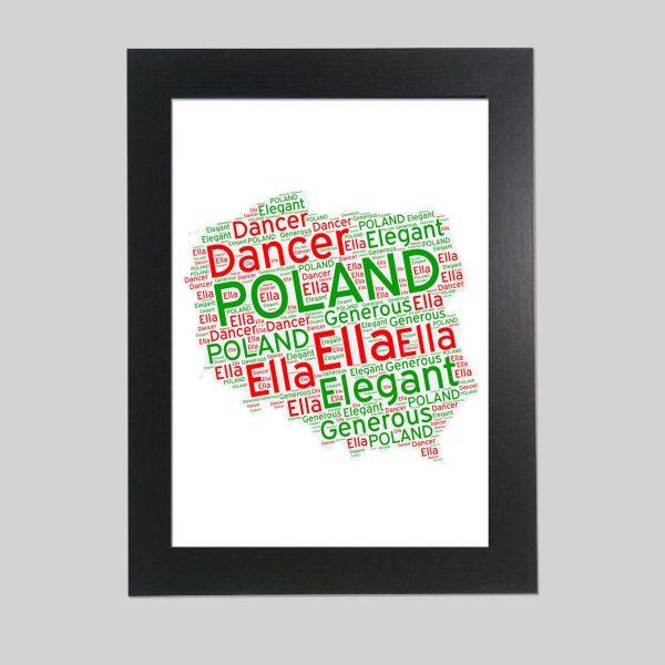 Word art print of Poland