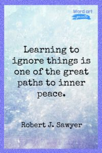 Learning To Ignore Things Is One Of The Great Paths To Inner Peace Quote