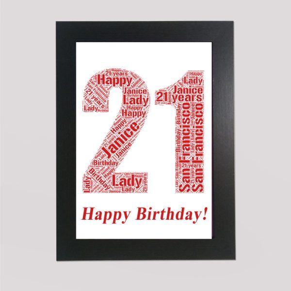 21st Birthdat in a Frame Wordart Prints